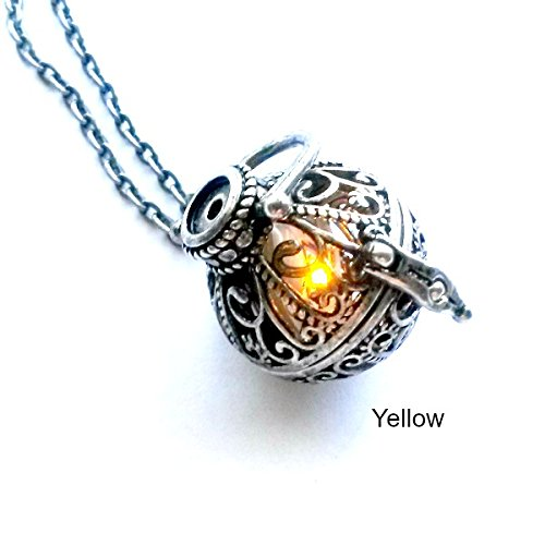 Light Up Necklace Magical Amber glowing battery operated LED Handmade Gift by Aunt Matilda's Jewelry Box