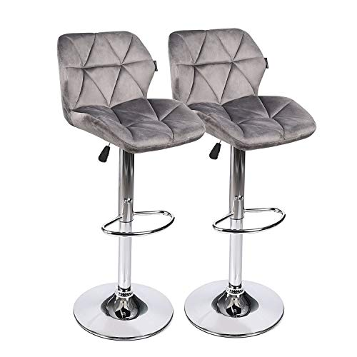 """Fullwatt Barstool Set of 2 Counter Back Adjustable - Swivel Bucket Cushioned Seat with Zipper Fabric Flannel Covers Footrest Rubber Pad Feet Protector Safe Hydraulic Gas Lift 24/30"""" (Grey)"""