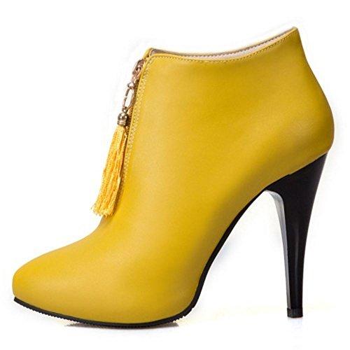 Botines Zapatillas Yellow altos RAZAMAZA de Stiletto flecos Moda Mujer Tacon qFt1TwRan