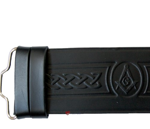 Masonic Kilt Belt in Hide Velcro Fastening