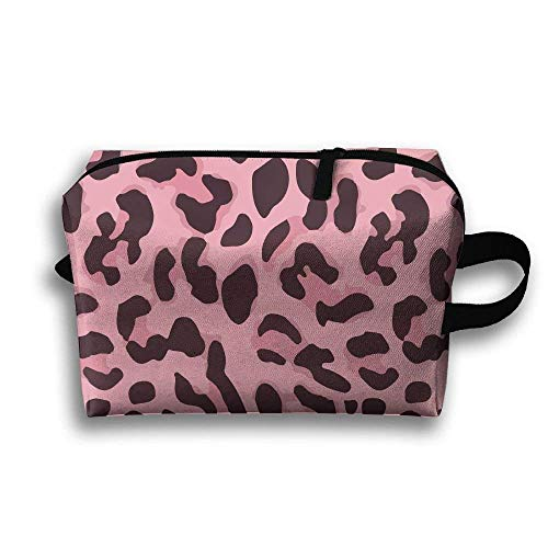 kjaoi Animal Pink Cheetah Leopard Print Travel Cosmetic Makeup Storage Pouch Bag for $<!--$10.50-->