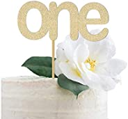 Gold Glitter One Cake Topper, First Birthday, 1st, Cake Smash, Party, Gold Glitter, I am one
