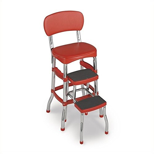Pemberly Row Red Retro Counter Chair with Pull Out Step Stool