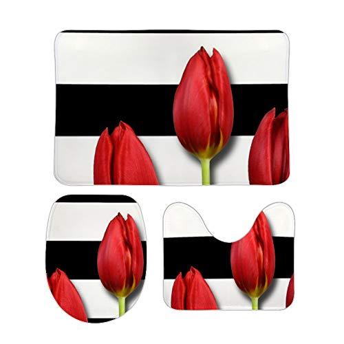 Red Roses Black White Stripes 3 Piece Bathroom Rug Set Bath Mat Shower Rug, U Shaped Contour Mat, Lid Cover Non-Slip…