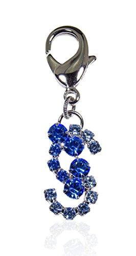 Buddy G's Letter S Blue Austrian Crystal Medium Dog Collar ()