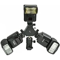 ePhoto H6704 Triple Hotshoe Mount Flash Bracket 3-Way with Umbrella holder for Nikon Canon Pentax Sigma