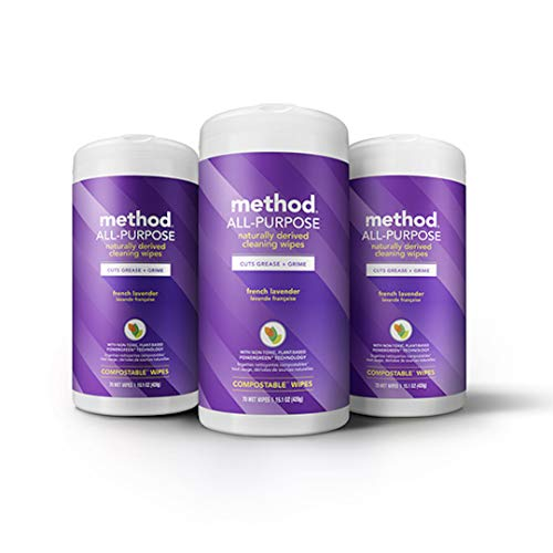 Method All-purpose Cleaning Wipes, French Lavender, 70 Count, 15.1 Ounces, 3 Count