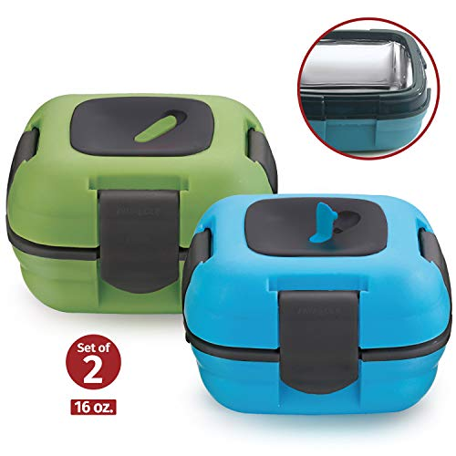Lunch Box ~ Pinnacle Insulated Leak Proof Lunch Box for Adults and Kids - Thermal Lunch Container With NEW Heat Release Valve 16 oz ~Set of 2~ Blue-Green (Best Container To Keep Food Hot)