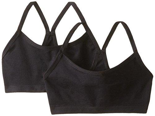 Jockey Big Girls' Black 2 Pack Seamless Performance Crop Top, Black, X-Large