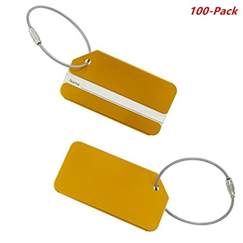 Luggage Tags 100-Pack Aluminum Luggage Tag With Name ID Card Perfect to Quickly Spot Baggage Suitcase-Gold