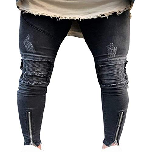 Hx Fashion Jeans Da Uomo Lavati Con Stropicciatura Color Ruggine Taglie Comode Decorazione Chiusura Dritta Pantaloni In Denim Casual Fori Strappati A Matita Stretch Abiti 1842