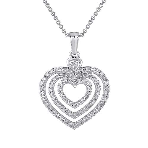 - 1/2 Carat Diamond Heart Pendant Necklace in 14K White Gold (Silver Chain Included) - IGI Certified