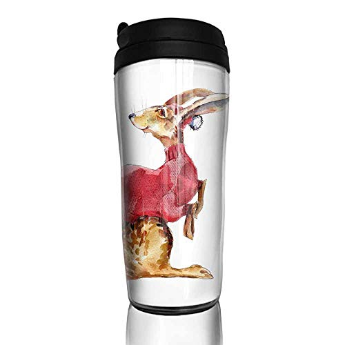 coffee cups with lids 12 oz Hare in red sweater watercolor illustration hand-drawn vintage isolated object on white background 12 oz,coffee cup picture for the wall