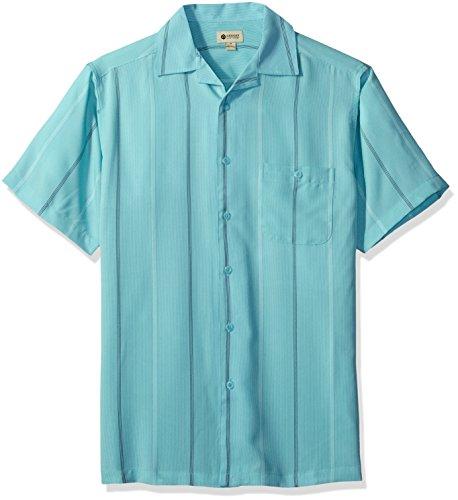 Haggar Men's Short-Sleeve Textured Microfiber Woven Shirt, Waterfall Stripe, Small - Multi Stripe Woven Shirt