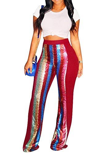 Casual Pants Fashion Womens Casual Wide Leg Pants Gradient Sequins Insert Maxi Trousers