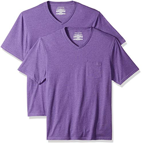 Amazon Essentials Men's 2-Pack Loose-fit V-Neck Pocket T-Shirt, Purple Heather, X-Large