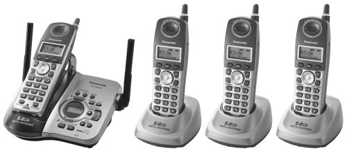 Panasonic Refurb KXTG5664BP 5.8GHz Cordless Phone,Multi Handset, 1x4,Digital Answering Device,Black (Multi Handset Ghz 5.8)