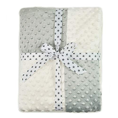 (Boritar Super Soft Throw Blanket with Minky Raised Dotted, Grey 50 x 60 Inch)
