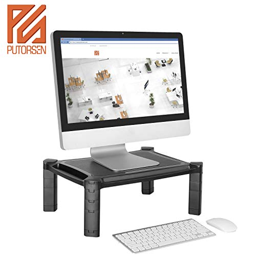 PUTORSEN® Adjustable Monitor Stand Riser for Computer, iMac, PC, Printer, Laptop with Tablet & Phone Holder, Cable Management Slot, up to 10KG