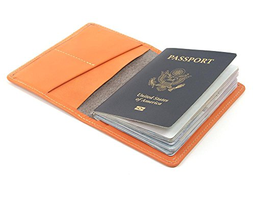 Orange Leather wallet for passport. Travel passport cover for women. Travel wallet made in USA by Made In Mayhem by Made In Mayhem
