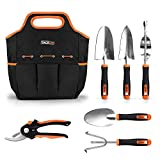 TACKLIFE 6 Piece Stainless Steel Heavy Duty Garden Tools Set, with Non-slip Rubber Grip, Storage Tote Bag, Outdoor Hand Tools, Garden Gift, Black and Orange | GGT4A