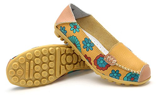 Eagsouni Women's Leather Loafers Moccasins Casual Slip On Driving Dancing Boat Shoes Flower Printed Flat Pumps Yellow Nyjv4zC9qx