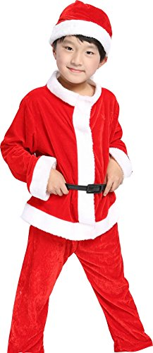 OVOV Unisex Baby Christmas Costume Red Santa Suit Cosplay for Kids Children Gift (X-Large) -