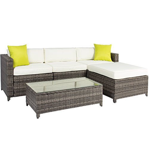 Best Choice Products 5-Piece Modular Wicker Patio Sectional Set w/Glass Tabletop - Gray