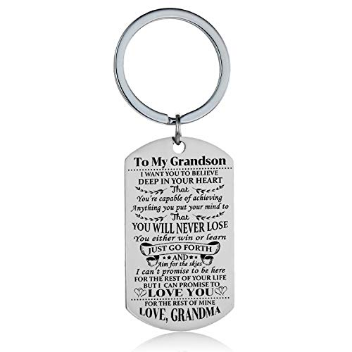 Grandson Granddaughter Keychain Key Ring Believe Inspirational Gifts from Grandma Grandmother Birthday Graduation Christmas Gifts Jewelry (to Grandson)