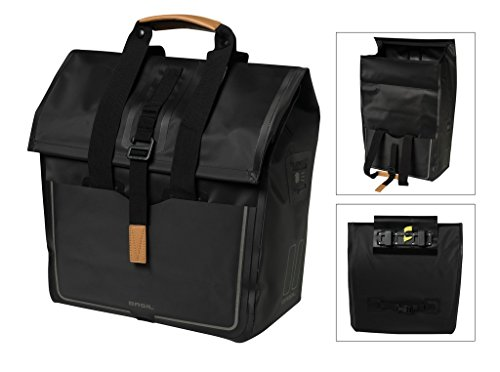 (Basil Urban Dry Waterproof Shopper Bicycle Pannier Bag - 20 Liters (Matte Black))