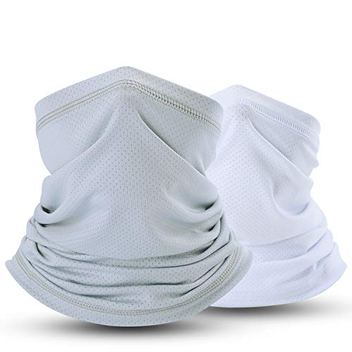 SUNMECI Summer Face Mask Breathable Sun Dust Protection Neck Gaiter for Fishing Hiking Camping Outdoors Versatile Headwrap (Grey+White)