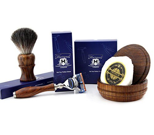 4 PCs Wooden Shaving Set With Gillette Fusion,Pure Badger Hair Brush,Soap & Bowl by Haryali London