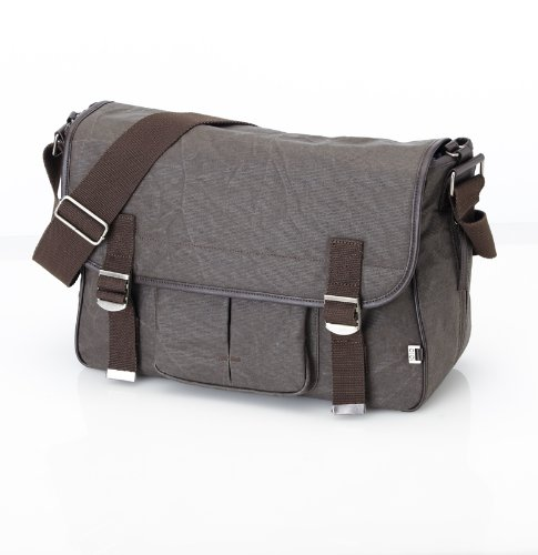 OiOi Men's Waxed Canvas Messenger Bag, Chocolate