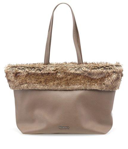 Tamaris ANDIE Damen Handtasche, Shopping Bag, Shopper, 44x28x14 cm (B x H x T), Fellimitat, 2 Farben: taupe comb. oder schwarz comb. Taupe