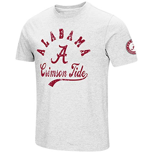 NCAA Colosseum Men's Vintage Dual-Blend T-Shirt with 2 Logos (Alabama Crimson Tide-White, Medium) from NCAA