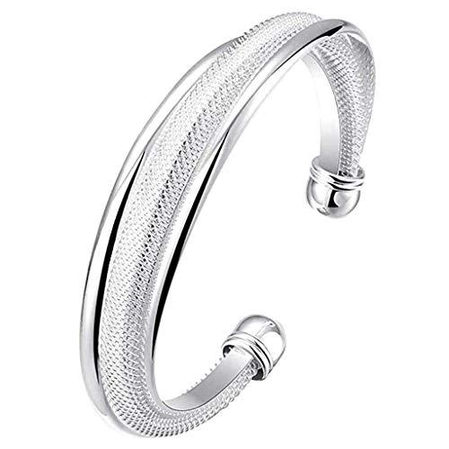 Amlaiworld Women Fashion Bracelets Jewelry 925 Sterling Silver Bangle Charm Bangle Bracelet Handmade Gift (Free, Sliver-4)