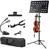 Klvied Sheet Music Stand with Violin Hanger, Folding Music Stand, Portable Fortable Music stand for Sheet Music, Violin Music