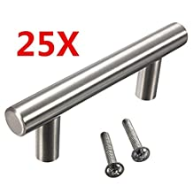 """KINGSO 25pcs 2.52"""" Hole Spacing Hollow Stainless Steel Kitchen Door Cabinet T Bar Handle Pull Knobs Hardware Set 4"""" Overall Length"""
