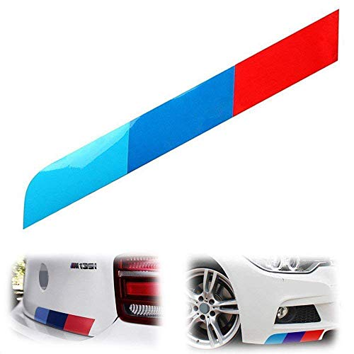 (iJDMTOY 17 by 2-Inch Reflective M-Colored Stripe Decal Sticker for BMW Exterior Cosmetic, Such As Hood/Bonnet, Trunk, Side Skirt, Bumper, etc)