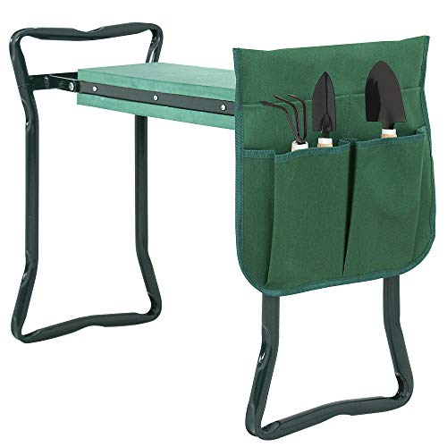 SUPER DEAL Newest Folding Garden Kneeler and Seat with Free Tool Pouches - EVA Foam Pad Protects Your Knees - Sturdy and Lightweight (Kneeler Stool Garden)