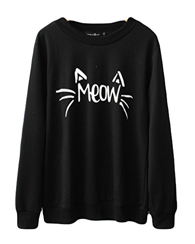 Halife Funny Cat Face Meow Print Oversize Sweatshirts for Women Plus Size Black XL