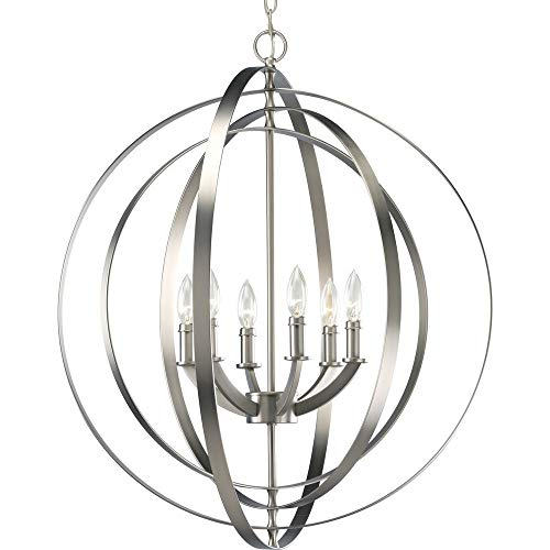 (Progress Lighting P3889-126 6-60-Watt Chandelier Sphere Foyer Lantern, 27.75
