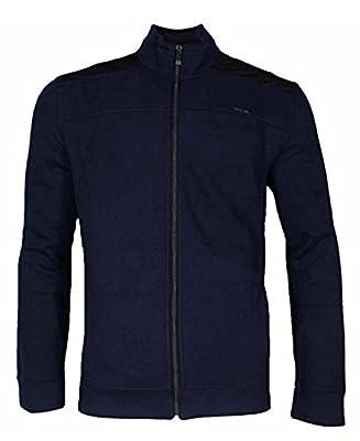 Calvin Klein Jeans Mens Full-Zip Fleece Mock Neck Sweatshirt Jacket (Medium, Majestic Navy)