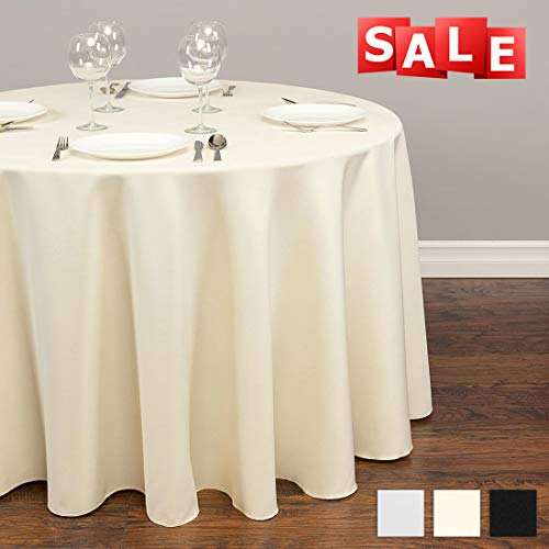 (Lightweight Round Tablecloth Polyester Table Line - Stain Resistant Washes Easily Great for Thanksgiving Christmas Family Dinner Wedding Parties Restaurant Banquet (IVORY, Round 70