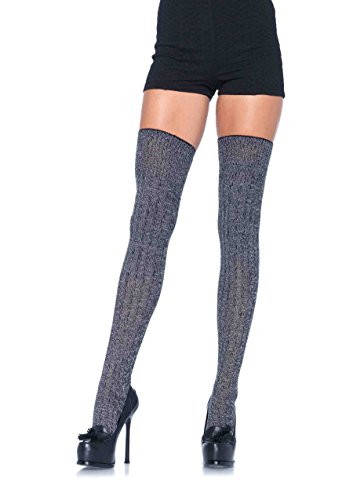 Leg Avenue Women's Heather Rib Knit Thigh Highs, Grey, One Size (Thigh High Socks)