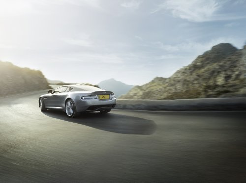 Martin Db9 Coupe Aston (Aston Martin DB9 Coupé (2012) Car Art Poster Print on 10 mil Archival Satin Paper Silver Rear Side Motion View 24