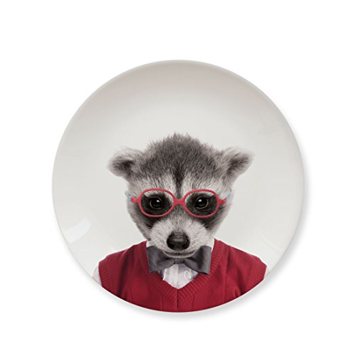 MUSTARD Ceramic Dinner Plate I Dishwasher safe I Dinnerware - Wild Dining Raccoon by Mustard and Co.