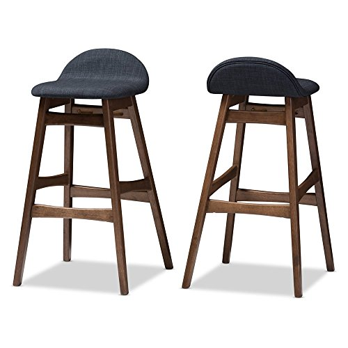(Baxton Studio 1 Piece Bloom Scandinavian Style Dark Fabric Upholstered Walnut Barstool Set, 30