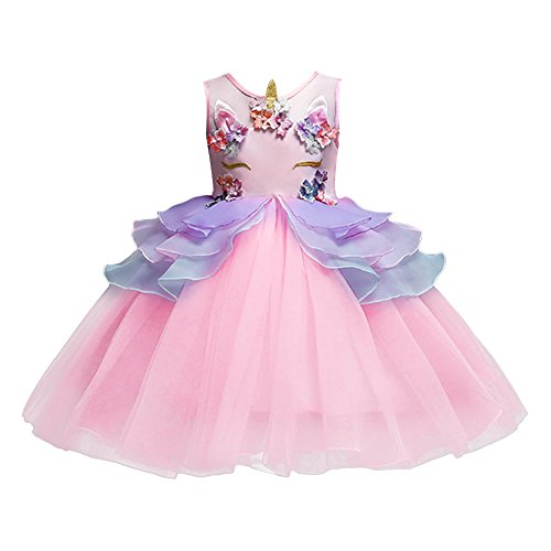 Kids Girls Flower Unicorn Costume Princess Dress Tulle Tutu Gown Fancy Dressing up Cosplay for Toddler Birthday Party Pageant Wedding Pink 7-8 Years -