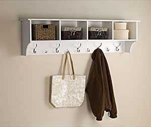 White 5 ft entry hall shelf with 4 cubby and 9 - Perchero para sombreros ...